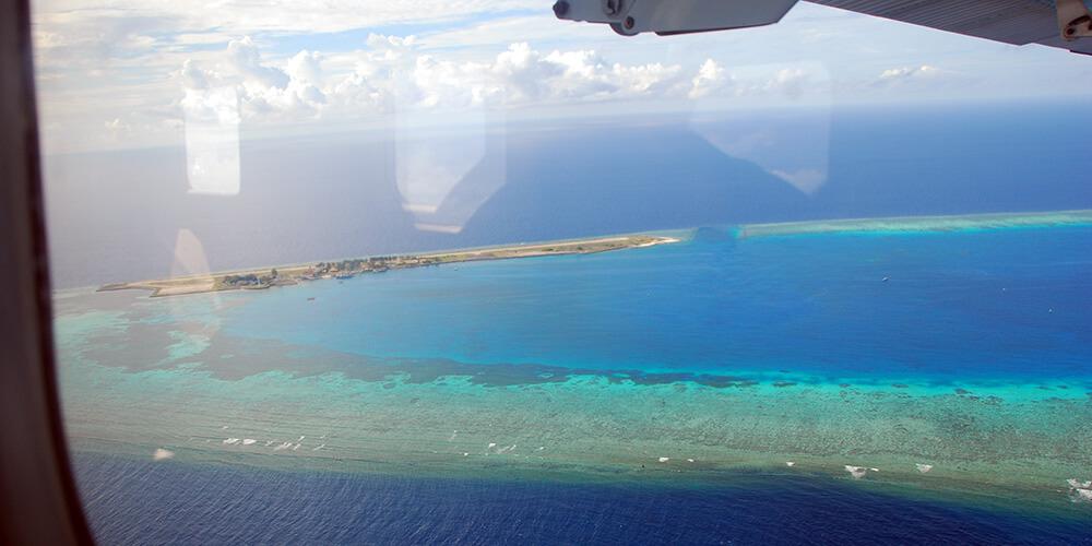 Flying over Spratly Island