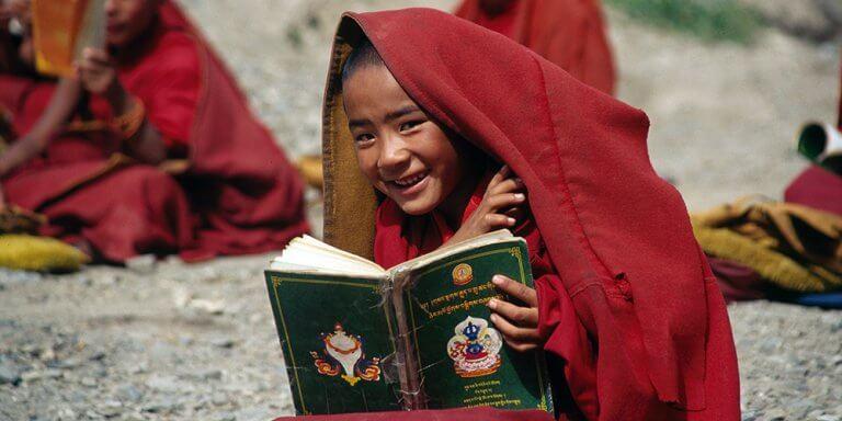 Tibet child reading