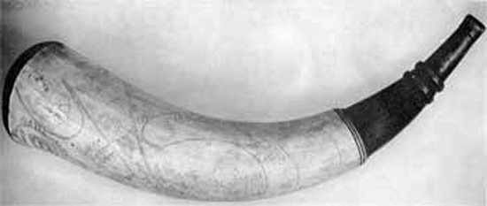 Revolutionary Powder Horn Engraved with Map of Boston